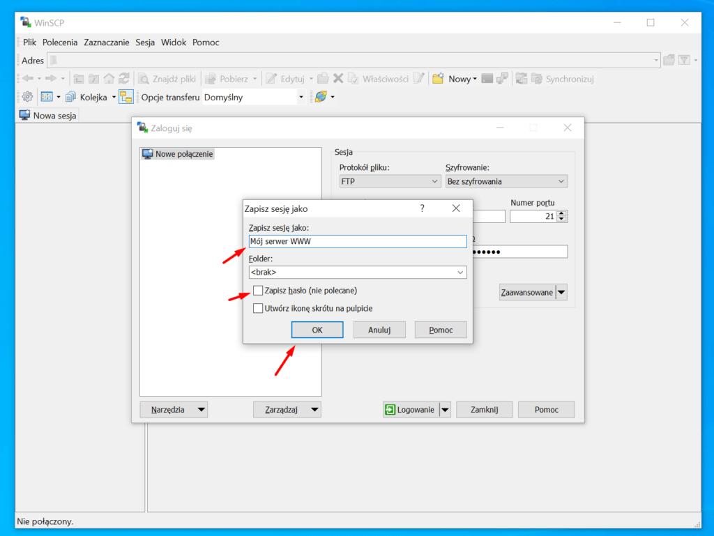 Zdecyduj czy program ma pamiętać także hasło, a następnie kliknij przycisk OK.
