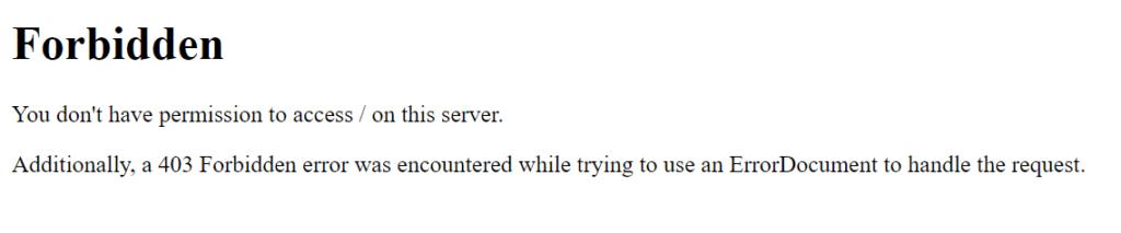 Komunikat błędy 403, np. gdy katalog nie ma włączonego listowania zawartości.
