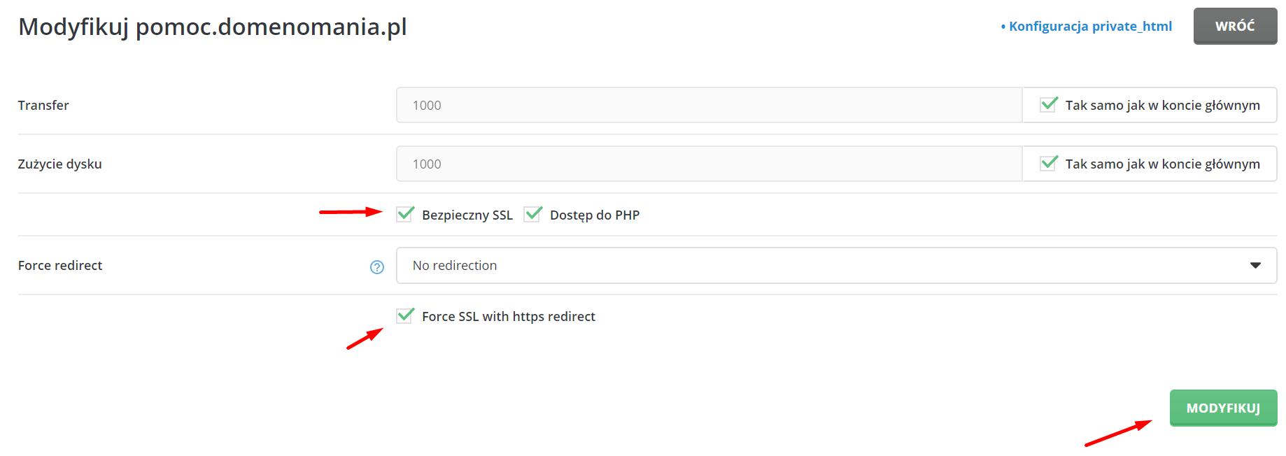 Let's Encrypt - DirectAdmin - ustawienia domeny - Bezpieczny SSL - Force SSL