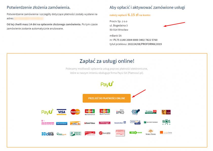 Opłać zamówienie, aby aktywować domenę.