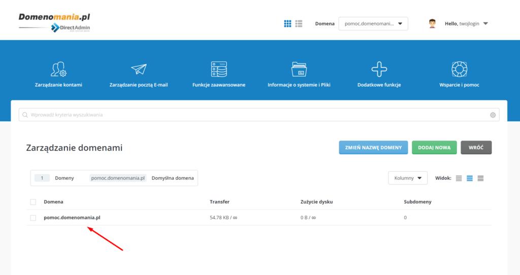 DirectAdmin - wskaż domenę, dla której chcesz dodać certyfikat SSL