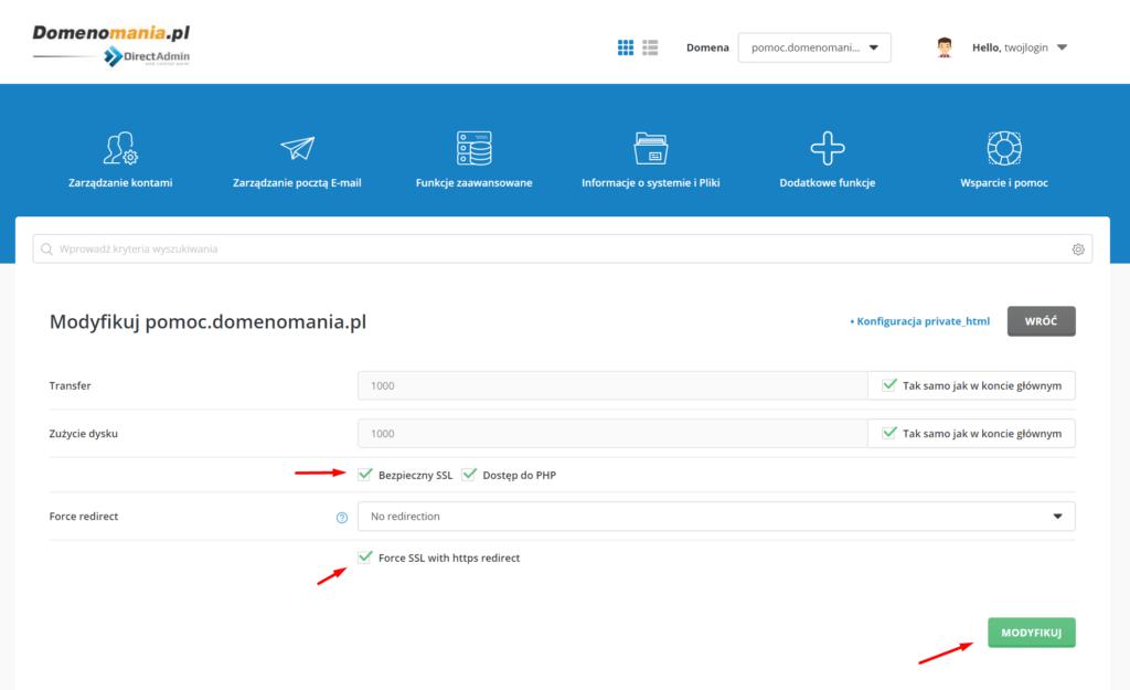 Zaznacz odpowiednie pola dotyczące certyfikatu SSL