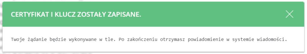 Certyfikat SSL Let's Encrypt i klucz zostały zapisane.
