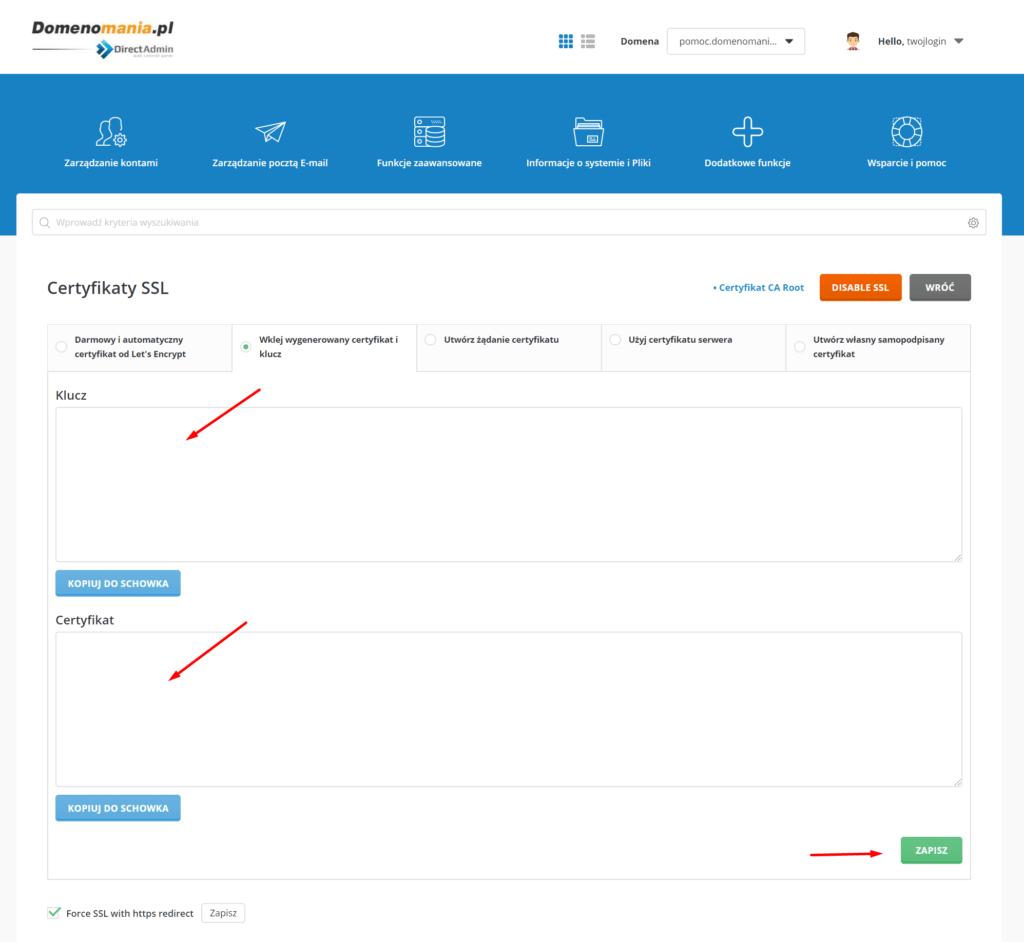 DirectAdmin - Certyfikaty SSL - Instalacja nowego certyfikatu SSL