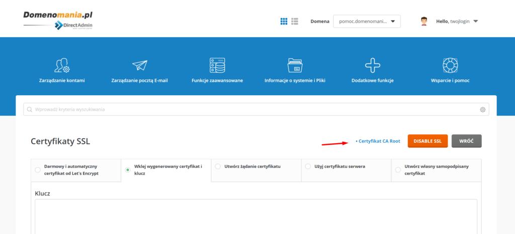 DirectAdmin - Certyfikaty SSL - Certyfikat CA Root