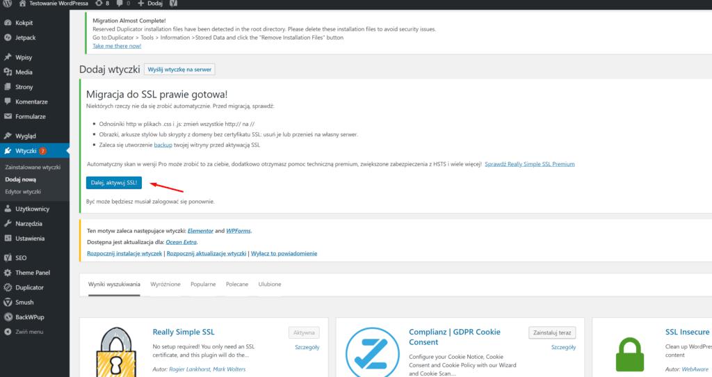 Po zainstalowaniu wtyczki: Really Simple SSL, włącz ją w panelu WordPress