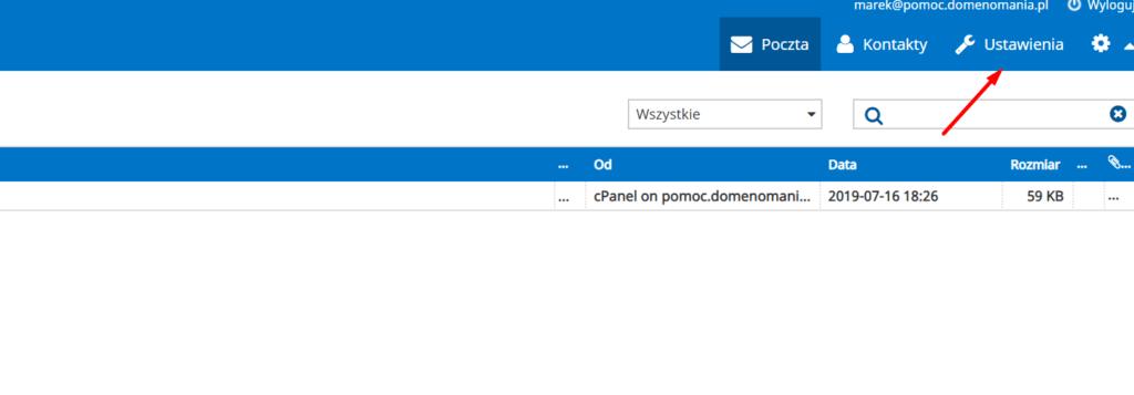 Aby ustawić podpis, zaloguj się do skrzynki e-mail i wybierz: Ustawienia.
