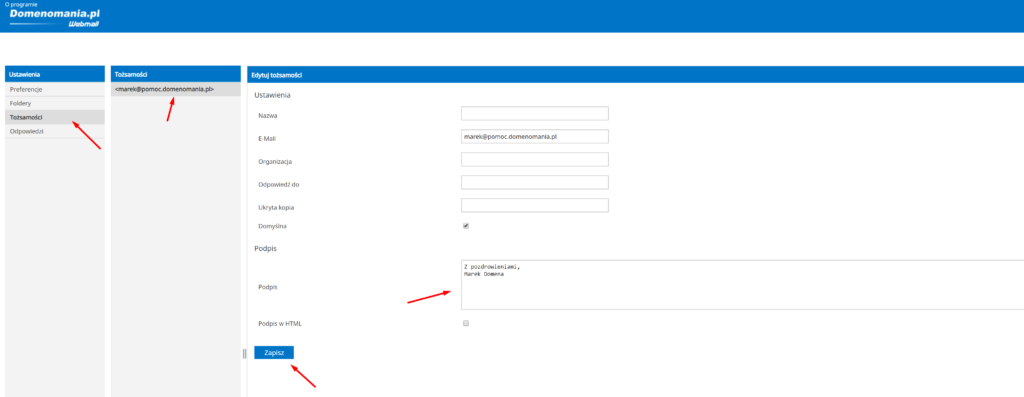 Dodawanie stopki do wiadomości e-mail w Domenomania.pl