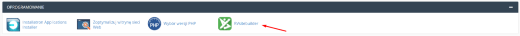 W cPanelu znajdź sekcję Oprogramowanie i kliknij opcję: RVsitebuilder