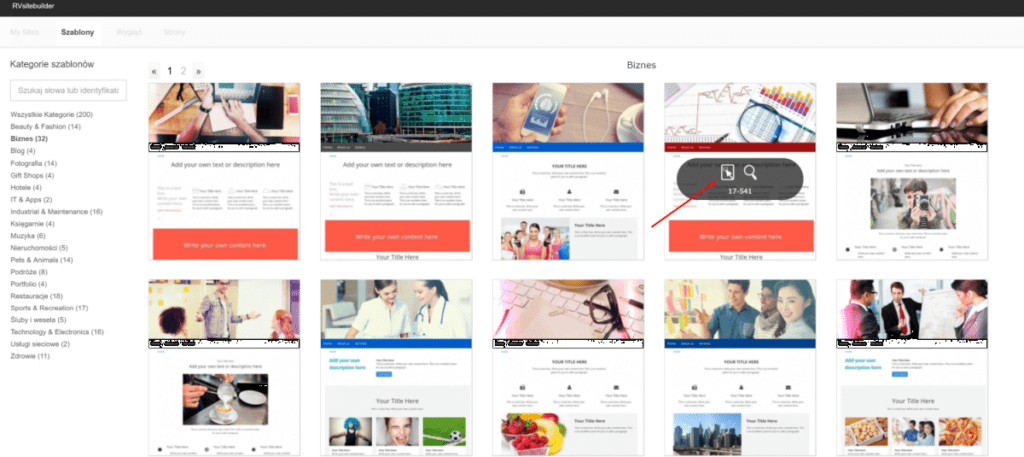 Wybierz interesujący Cię motyw graficzny dla swojej nowej strony WWW
