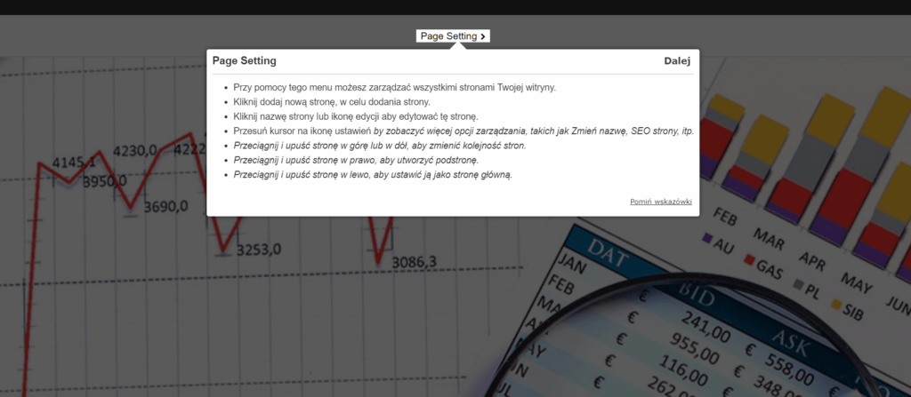Skorzystaj z przygotowanego samouczka, aby dowiedzieć się jak tworzyć stronę w edytorze.