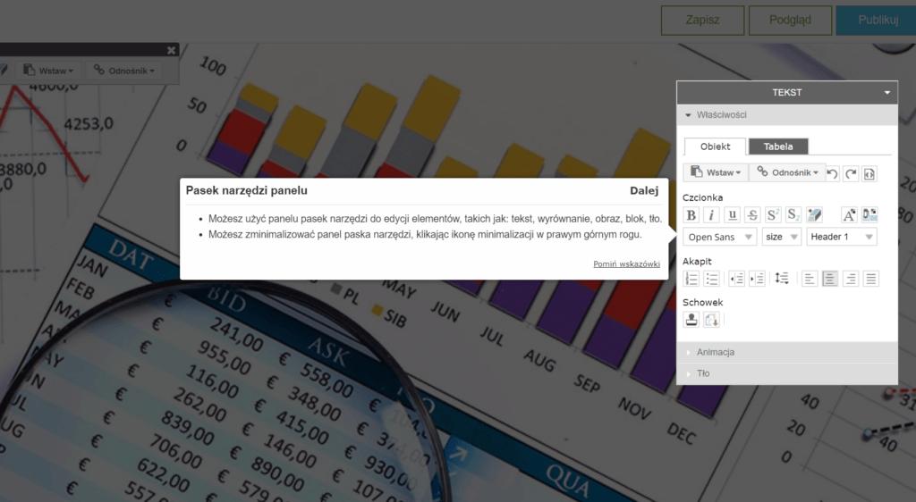 Pasek narzędzi panelu umożliwia edycje elementów takich jak: tekst, wyrównanie, obraz, blok, tło.