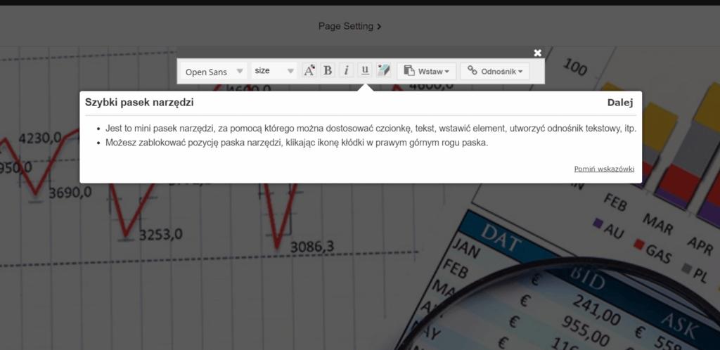 Szybki pasek narzędzi to mniejsza wersja menu kontekstowego, która głównie służy do edycji tekstu i obrazków.