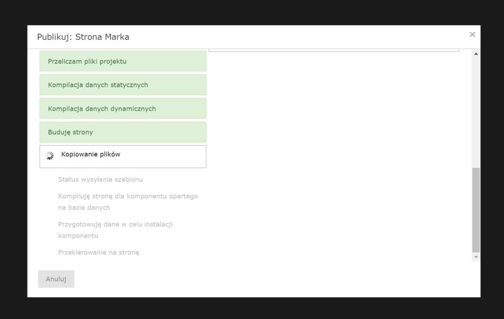 Po kliknięciu przycisku: Publikuj, edytor przygotuje stronę WWW do publikacji