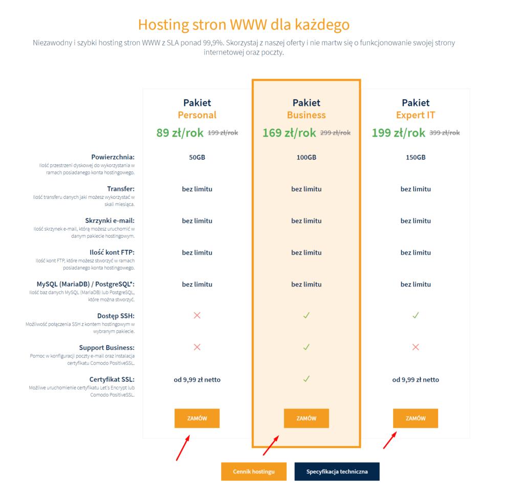 Jak zamówić usługę (np. domenę i hosting)?