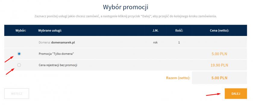 Wybór promocji podczas rejestracji domeny.
