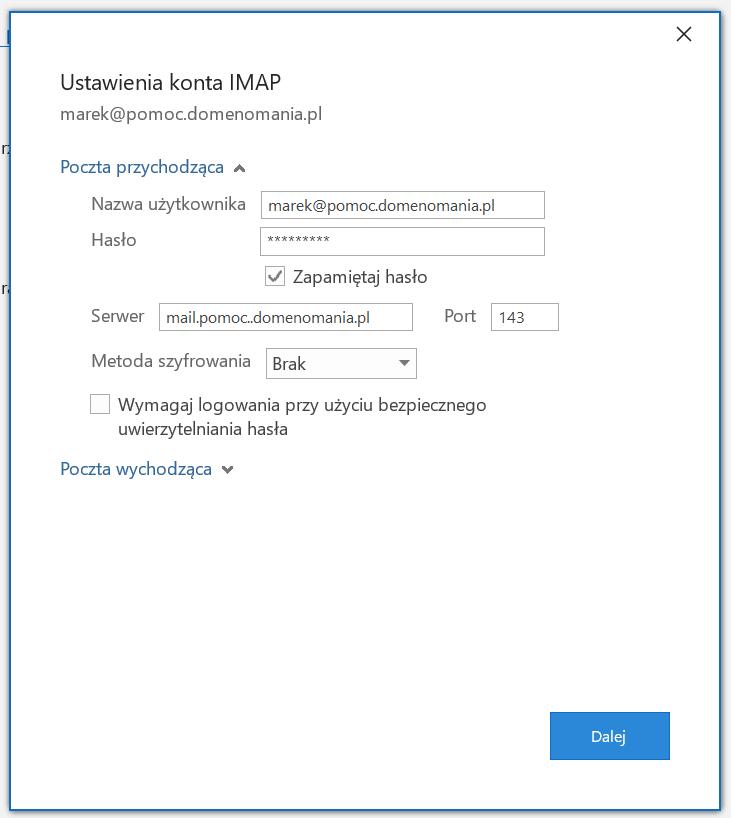 Bez szyfrowania SSL ustawienia konta IMAP poczta przychodzaca