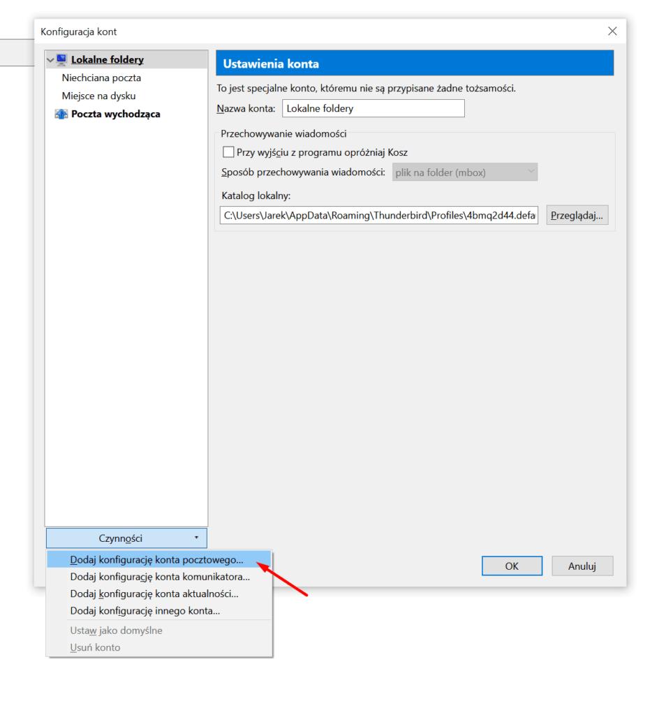 Mozilla Thunderbird - Konfiguracja kont - Dodaj konfigurację konta pocztowego