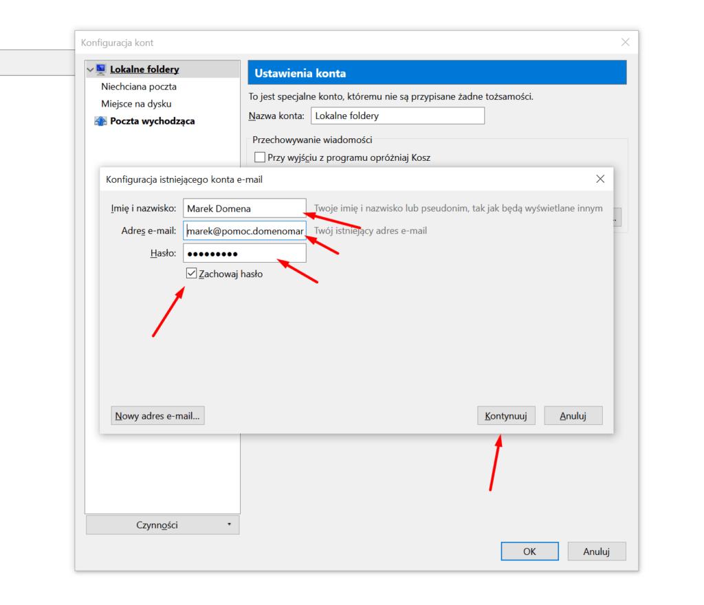 Mozilla Thunderbird - Konfiguracja kont - uzupełnij formularz dodawania konta pocztowego