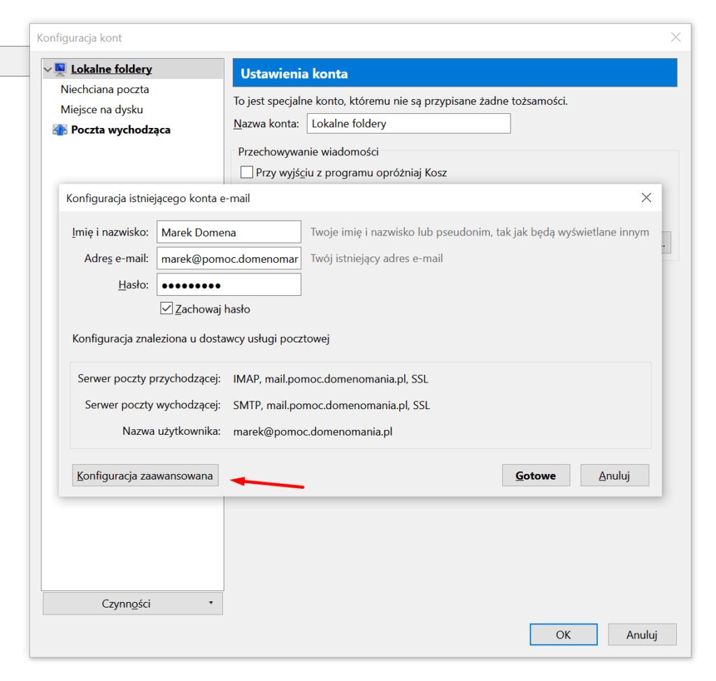 Mozilla Thunderbird - Konfiguracja kont - Konfiguracja zaawansowana