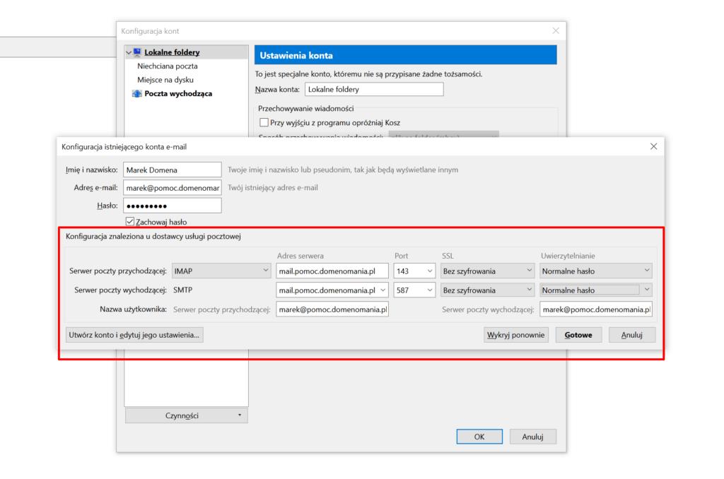 Mozilla Thunderbird - Konfiguracja kont - wpisz dane - kliknij przycisk: Gotowe
