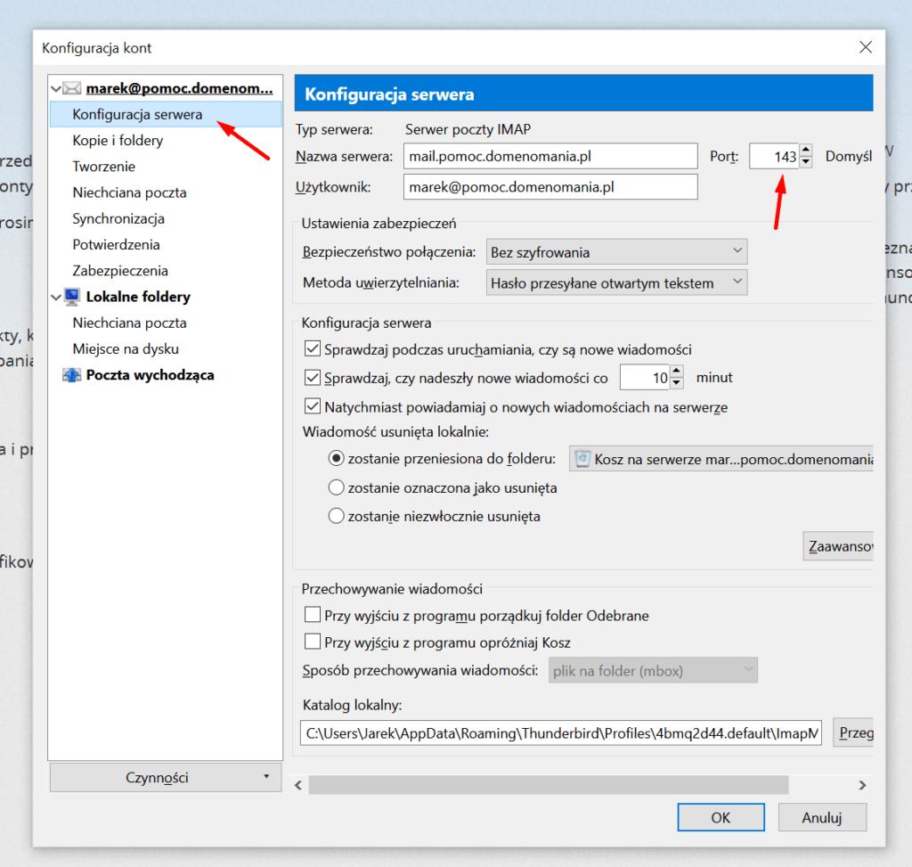 Mozilla Thunderbird - Narzędzia - Konfiguracja kont - Konfiguracja serwera