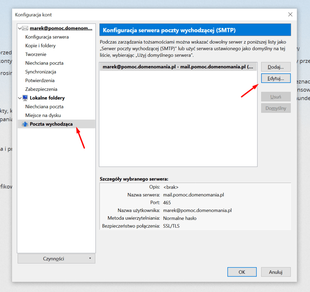 Edycja ustawień poczty wychodzącej w Mozilla Thunderbird