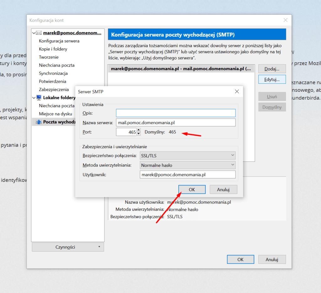 Zmiana ustawień poczty wychodzącej w Mozilla Thunderbird
