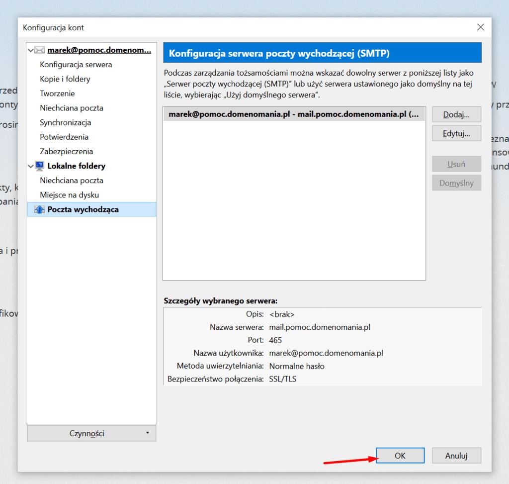 Po zmianie ustawień serwera poczty wychodzącej, kliknij przycisk OK