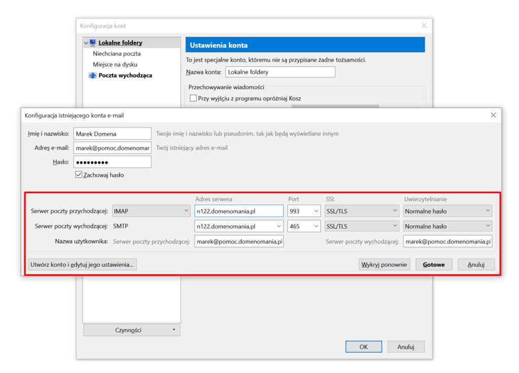 Po wprowadzeniu danych, kliknij przycisk Gotowe w Mozilla Thunderbird