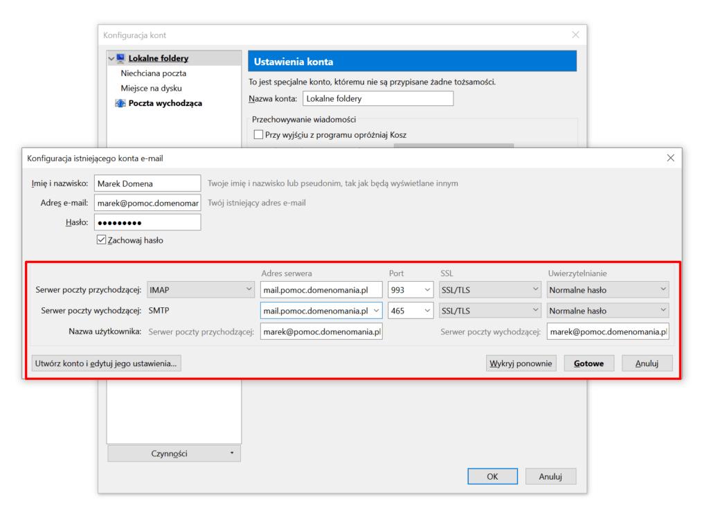 Mozilla Thunderbird - Konfiguracja kont - Serwer poczty wychodzącej i przychodzącej