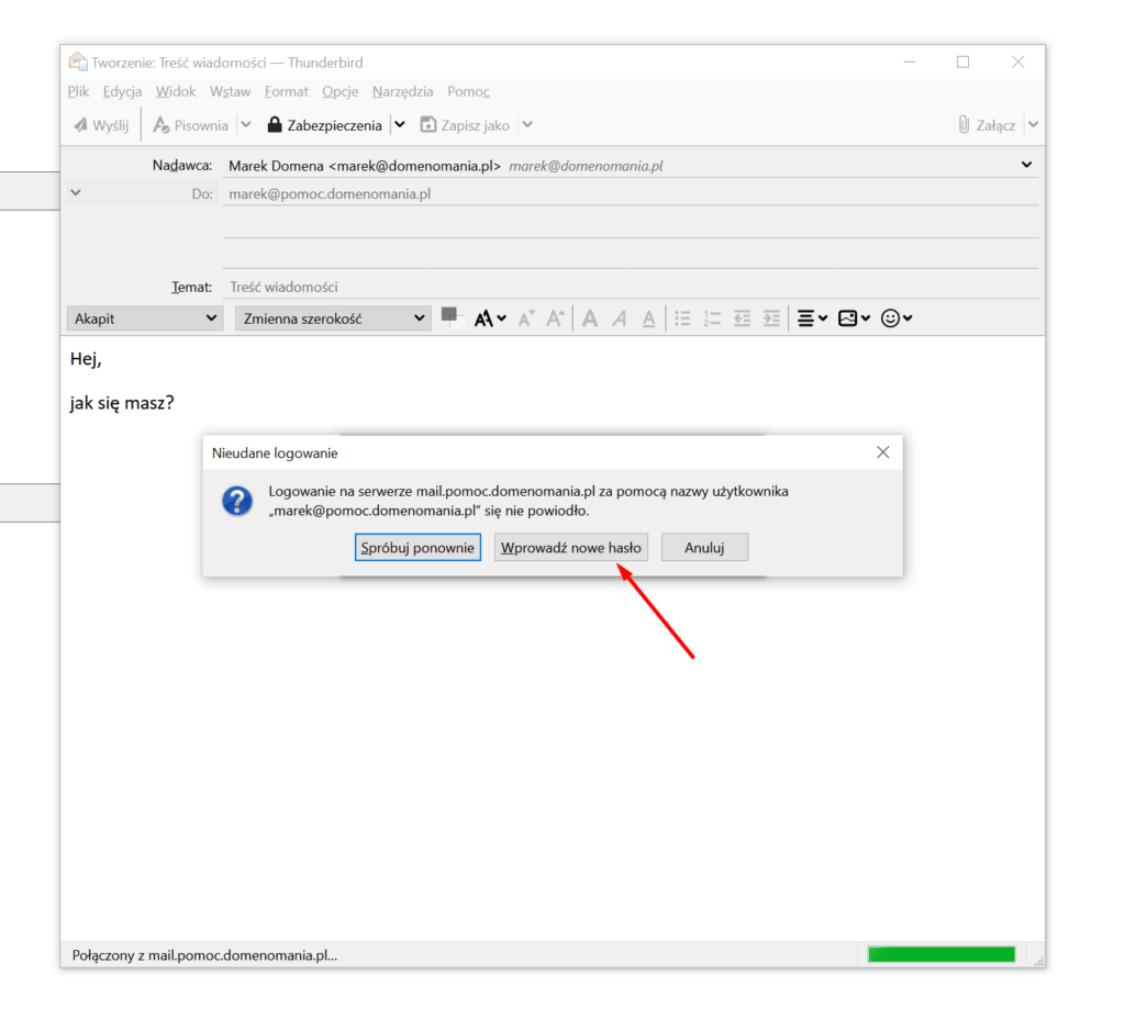 Zmiana hasła do e-mail Thunderbird podczas próby wysyłki