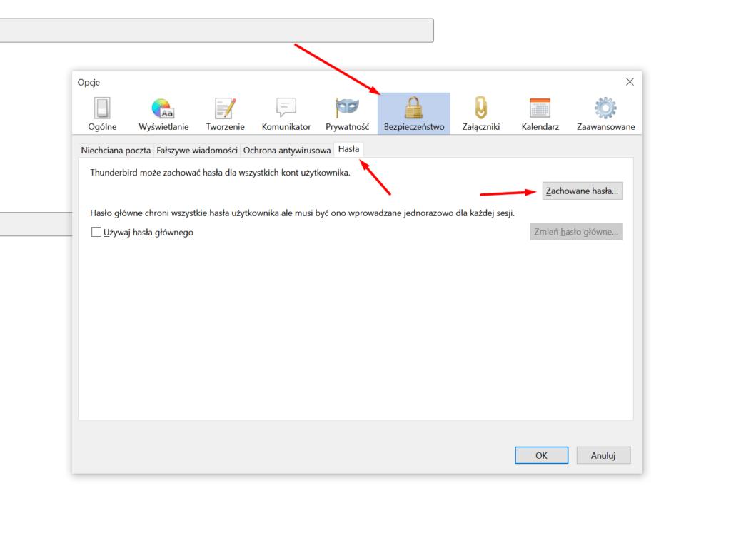 W Thunderbird kliknij zakładkę Bezpieczeństwo i przejdź do zakładki Hasła