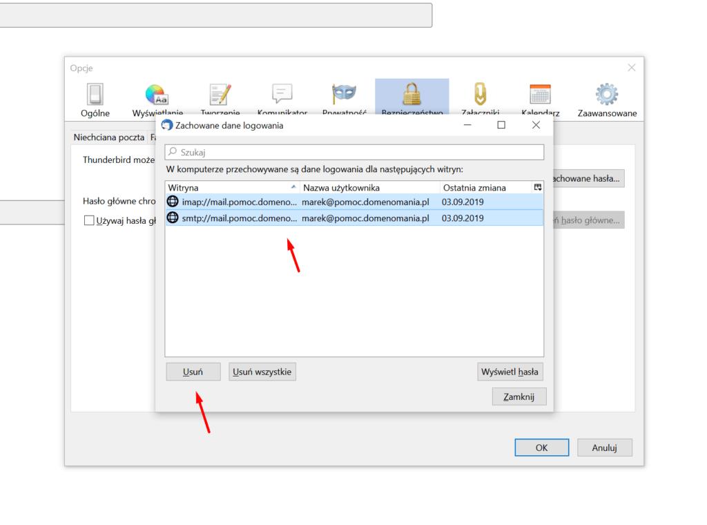 W programie Thunderbird zaznacz hasła i kliknij Usuń