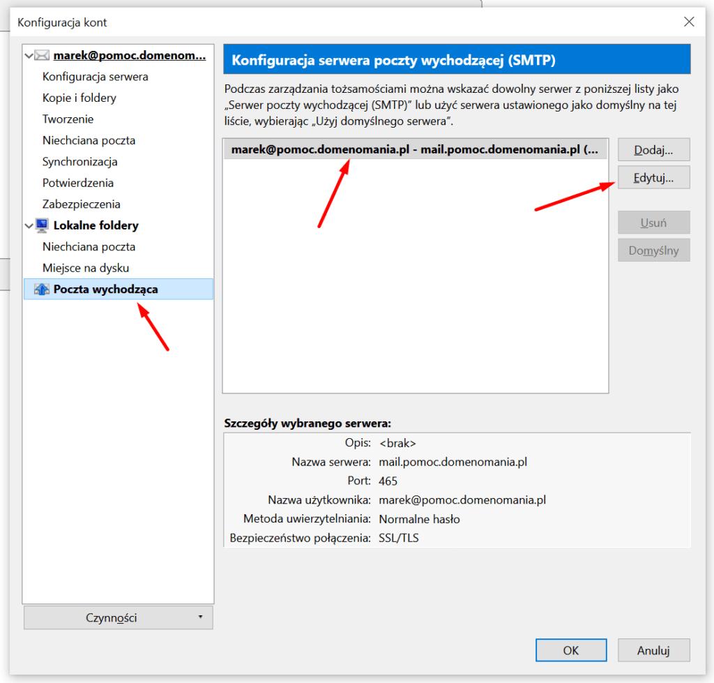 Konfiguracja serwerów pocztowych w Mozilla Thunderbird