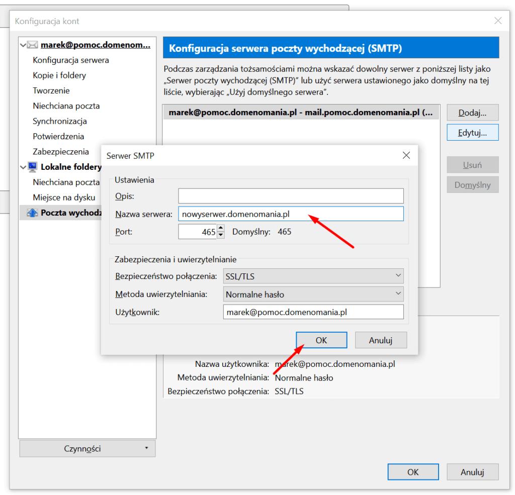 Wpisz nazwę serwera pocztowego w Mozilla Thunderbird