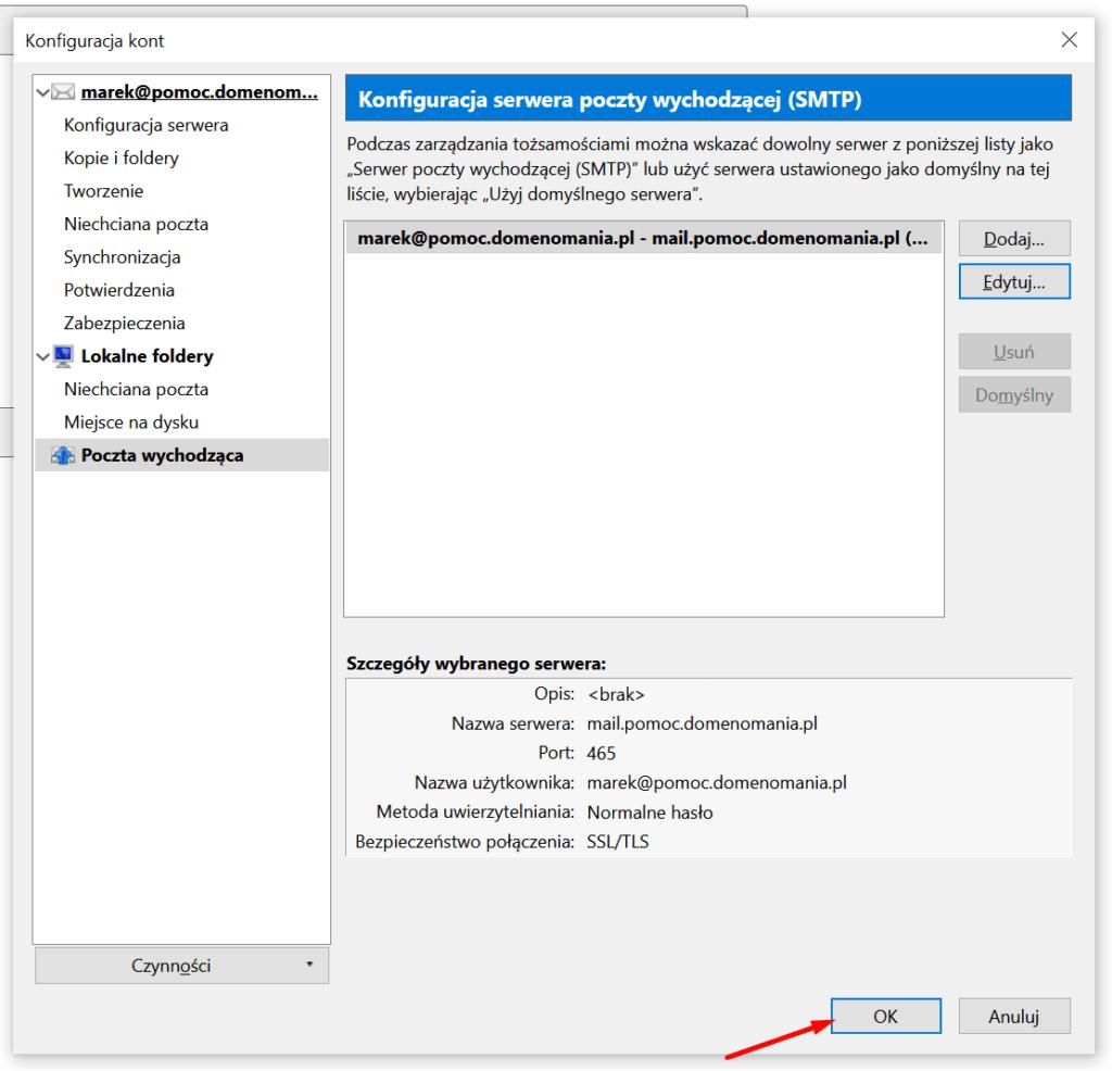 Zapisz ustawienia skrzynki e-mail w Mozilla Thunderbird