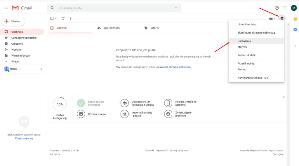 Po zalogowaniu do Gmail, przejdź do Ustawień