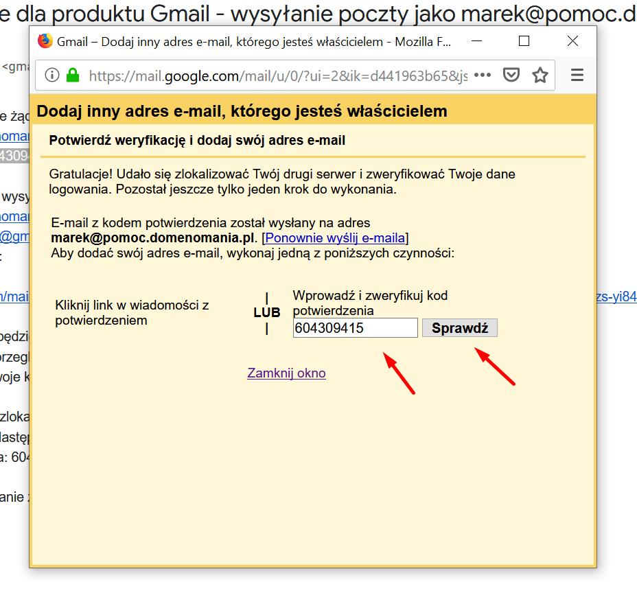 Gmail - potwierdź weryfikację - przepisz Kod potwierdzenia