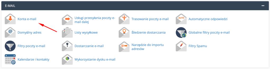 Podgląd sekcji E-mai w panelu Klienta