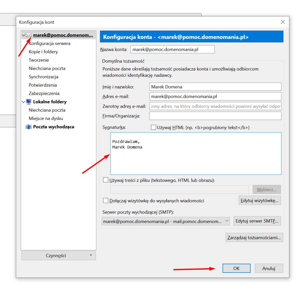 Mozilla Thunderbird - Konfiguracja kont - Sygnaturka