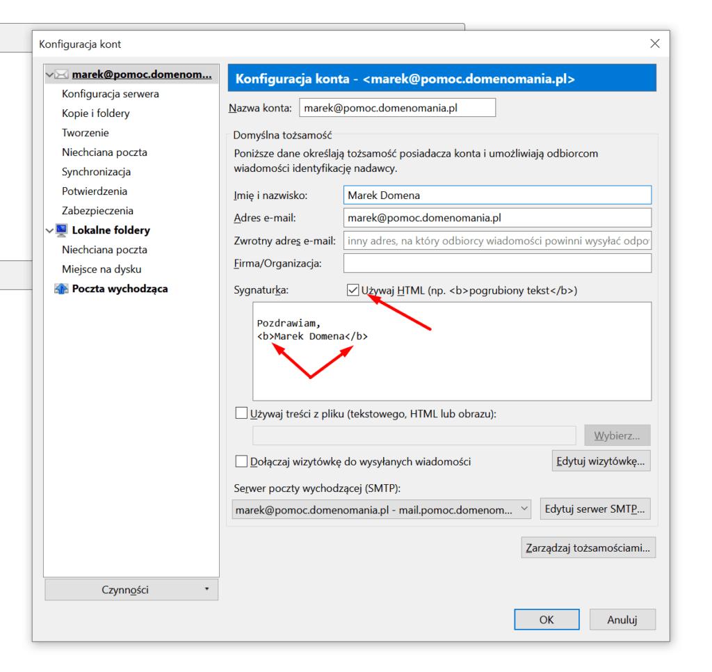 Używanie tagów HTML przy dodawaniu podpisu w Mozilla Thunderbird