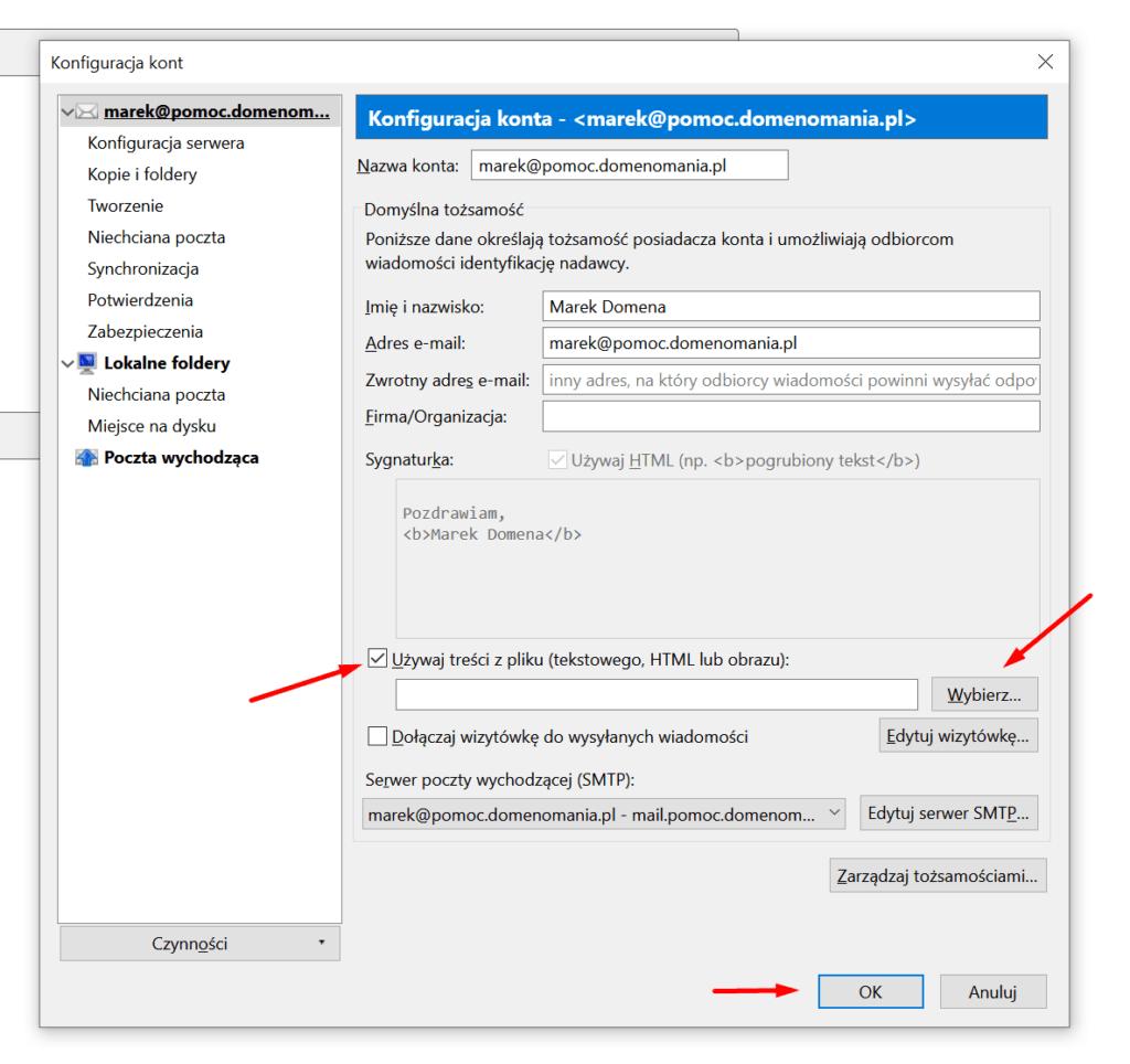 Mozilla Thunderbird - możesz używać podpisu zapisanego w pliku