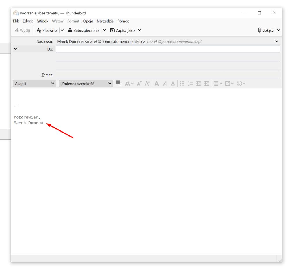 Przykład dodanej stopki do wiadomości w Mozilla Thunderbird