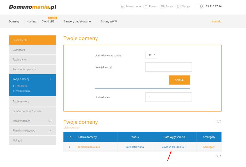 Znajdź sekcję Twoje domeny i sprawdź w kolumnie Data wygaśnięcia do kiedy domena jest opłacona.