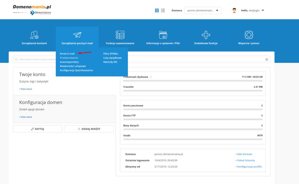W DirectAdmin kliknij: Zarządzanie pocztą e-mail -> Konta e-mail