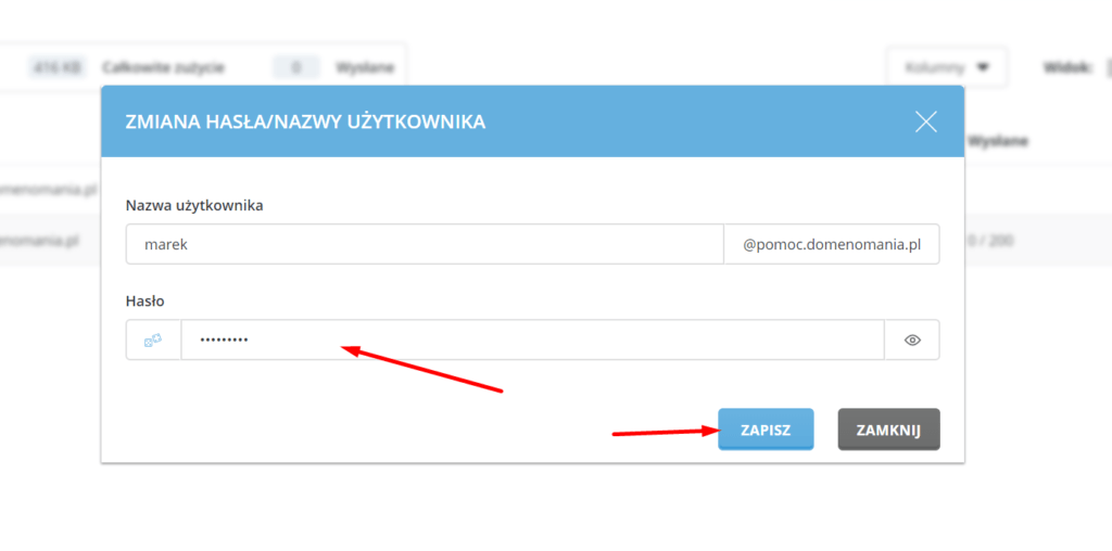 Wprowadź nowe hasło dostępu do skrzynki e-mail