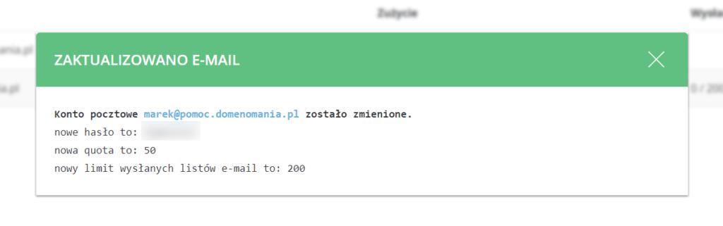 Po kliknięciu przycisku Zapisz, hasło dla skrzynki zostanie zmienione.