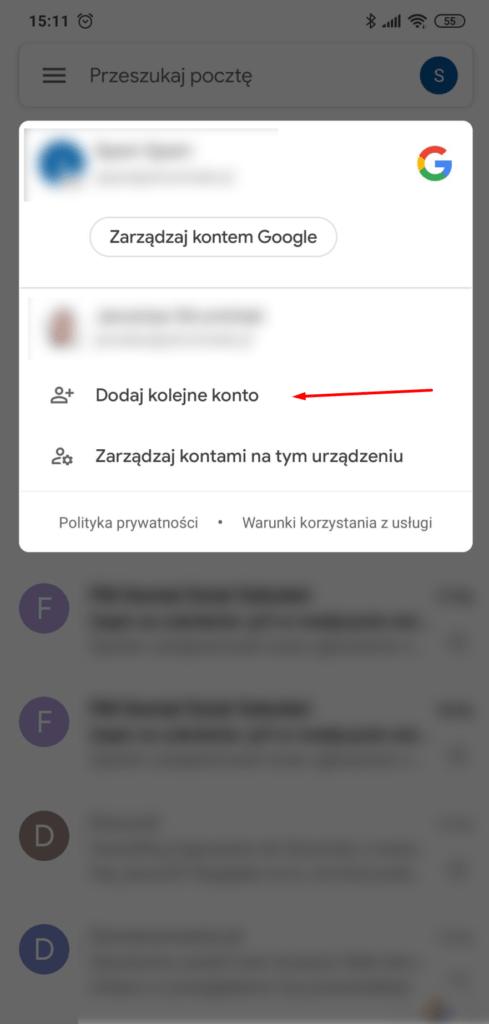 Kliknij: Dodaj kolejne konto w aplikacji pocztowe Gmail na Android