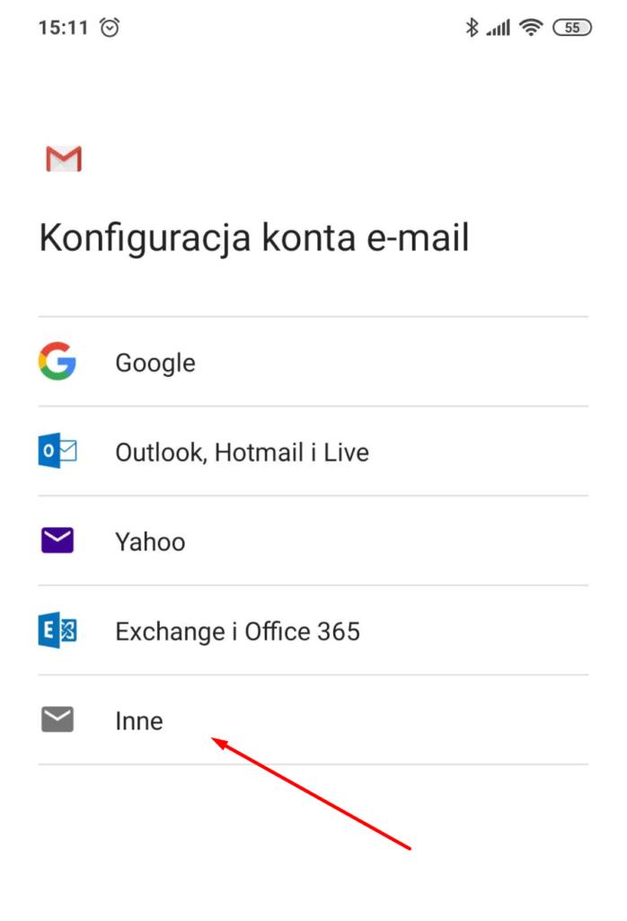 Aplikacja Gmail - Konfiguracja konta e-mail - wybierz: Inne